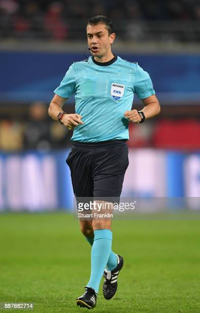 Referee Viktor Kassai looks on during the UEFA Champions League group G match between RB Leipzig and Besiktas at Red Bull Arena on December 6 2017 in...