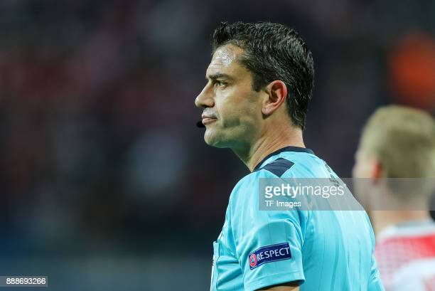 Referee Viktor Kassai looks on during the UEFA Champions League group G soccer match between RB Leipzig and Besiktas at the Leipzig Arena in Leipzig...
