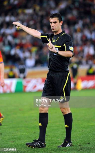 Referee Viktor Kassai of Hungary during the 2010 FIFA World Cup South Africa Semi Final match between Germany and Spain at Durban Stadium on July 7...