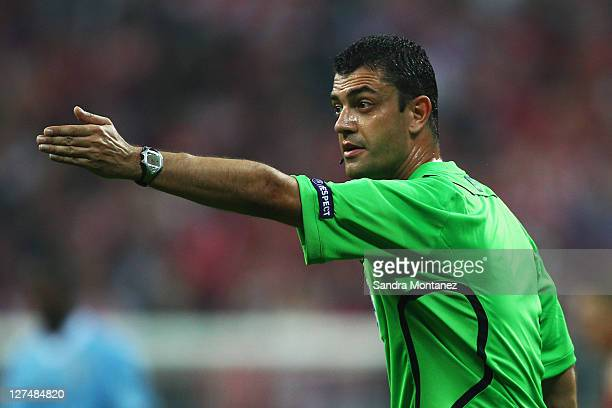 Referee Viktor Kassai of Hungary gestures during the UEFA Champions League group A match between FC Bayern Muenchen and Manchester City at Allianz...