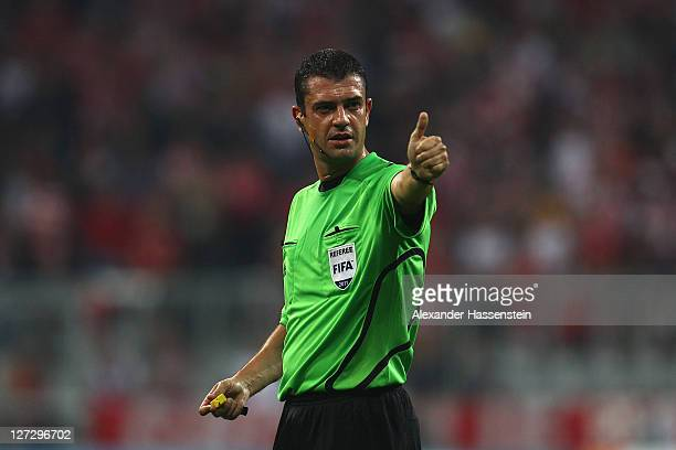 Referee Viktor Kassai reacts during the UEFA Champions League group A match between FC Bayern Muenchen and Manchester City FC at Allianz Arena on...