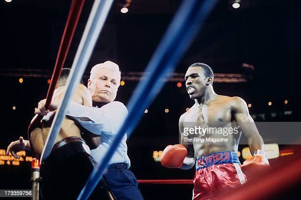 Referee Vincent Rainone stops Lionel Byarm and the fight against Evander Holyfield during the fight at Madison Square Garden in New York New York...