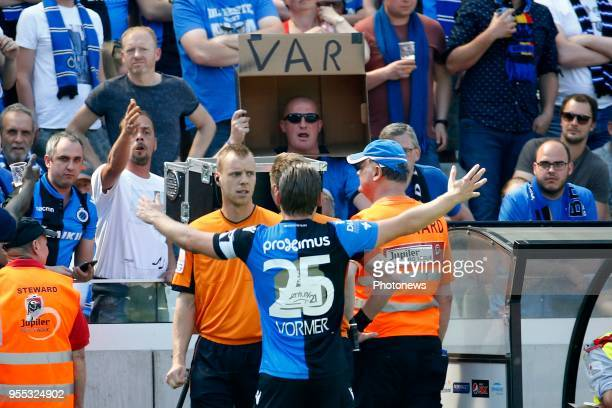 R referee Visser Lawrence and Josue Sa defender of RSC Anderlecht pictured during the Jupiler Pro League play off 1 match between KRC Club Brugge and...