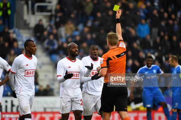 referee Visser Lawrence uses VAR video referee assistant during the Jupiler Pro League match between KRC Genk and Standard de Liege on November 26...