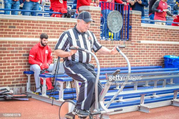 A referee warms up prior to the Michigan Wolverines versus Nebraska Cornhuskers game on Saturday September 22 2018 at Michigan Stadium in Ann Arbor MI