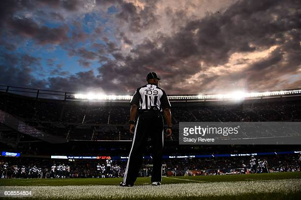 A referee watches the field during the game between the Chicago Bears and the Philadelphia Eagles at Soldier Field on September 19 2016 in Chicago...