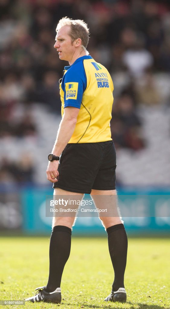 Referee Wayne Barnes during the Aviva Premiership match between Harlequins and Wasps at Twickenham Stoop on February 11, 2018 in London, England.