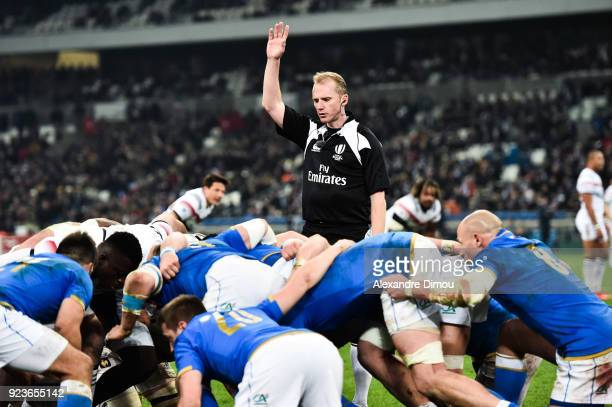 Referee Wayne Barnes during the NatWest Six Nations match between France and Italy at Stade Velodrome on February 23 2018 in Marseille France