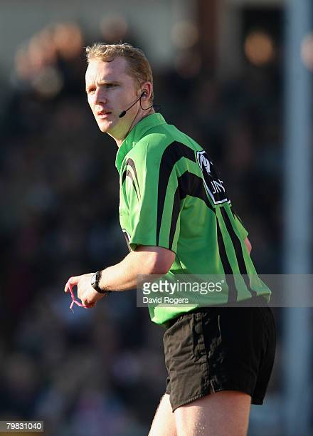 Referee Wayne Barnes pictured during the Guinness Premiership match between Bristol and Gloucester at the Memorial Ground on February 17, 2008 in...