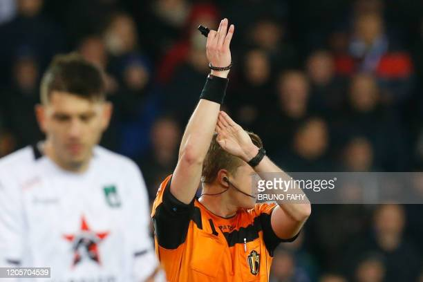 referee Wesley Alen signals a handball during a soccer match between Club Brugge KV and Cercle Brugge KSV Saturday 07 March 2020 in Brugge on day 29...
