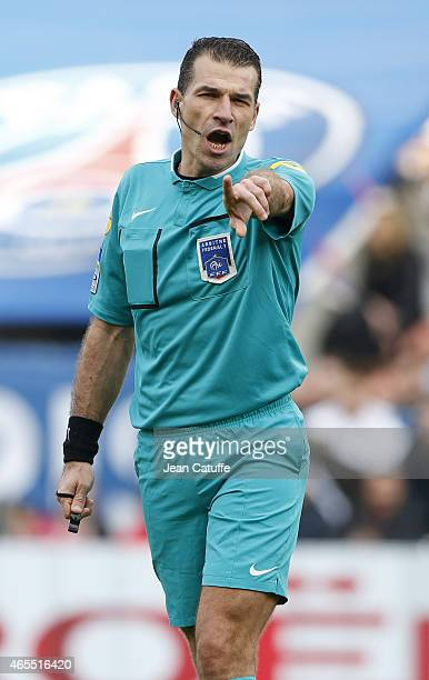 Referee Wilfried Bien in action during the French Ligue 1 match between Paris SaintGermain FC and RC Lens at Parc des Princes stadium on March 7 2015...