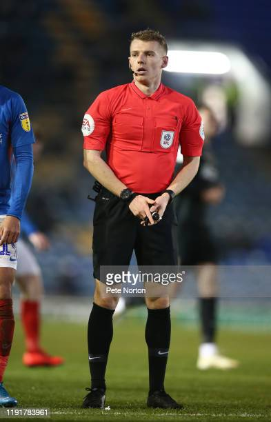 Referee Will Finnie in action during the Leasingcom Trophy match between Portsmouth and Northampton Town at Fratton Park on December 03 2019 in...