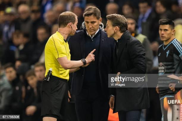 Referee William Collum, coach Eduardo Berizzo Magnolo of RC Celta de Vigo, coach Albert Stuivenberg of KRC Genkduring the UEFA Europa League quarter...