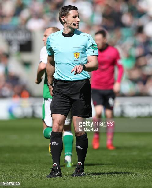 Referee William Collum is seen during the Ladbrokes Scottish Premiership match between Hibernian and Celtic at Easter Road on April 21 2018 in...