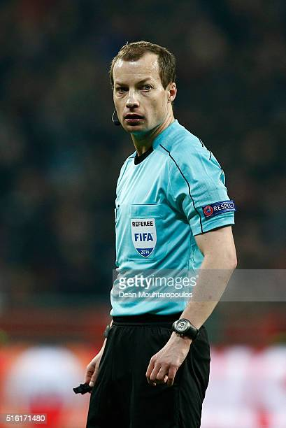 Referee William Collum looks on during the UEFA Europa League round of 16, second leg match between Bayer Leverkusen and Villarreal CF at Bay Arena...