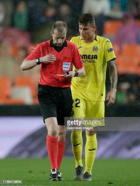 Referee William Collum, Raba of Villarreal during the UEFA Europa League match between Valencia v Villarreal at the Estadio de Mestalla on April 18,...