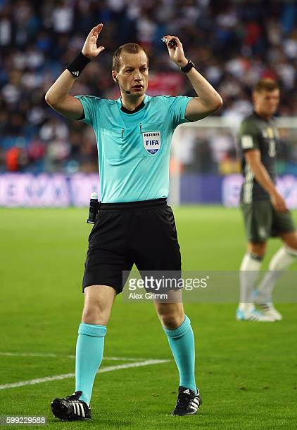Referee William Collum reacts during the 2018 FIFA World Cup Qualifier Group C match between Norway and Germany at Ullevaal Stadium on September 4,...