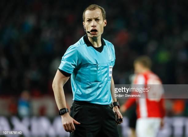 Referee William Collum reacts during the UEFA Champions League Group C match between Red Star Belgrade and Paris Saint-Germain at Rajko Mitic Stadium...