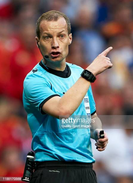 Referee William Collum reacts during the UEFA Euro 2020 qualifier match between Spain and Sweden at Bernabeu on June 10, 2019 in Madrid, Spain.