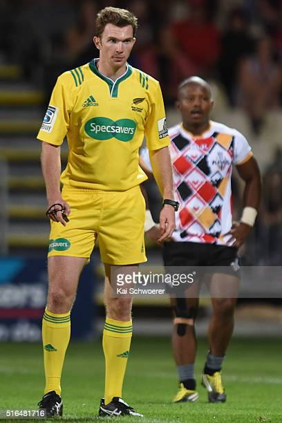 Referee William Houston looks on during the round four Super Rugby match between the Crusaders and the Kings at AMI Stadium on March 19 2016 in...