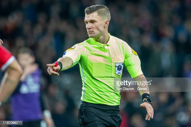 Referee Willy Delajod awards a penalty kick to Toulouse during the Toulouse FC V AS Monaco French Ligue 1 regular season match at the Stadium...