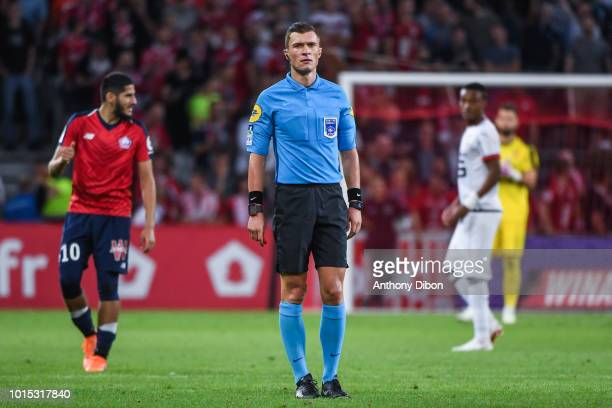 Referee Willy Delajod during the French Ligue 1 match between Lille and Rennes at Stade Pierre Mauroy on August 11 2018 in Lille France