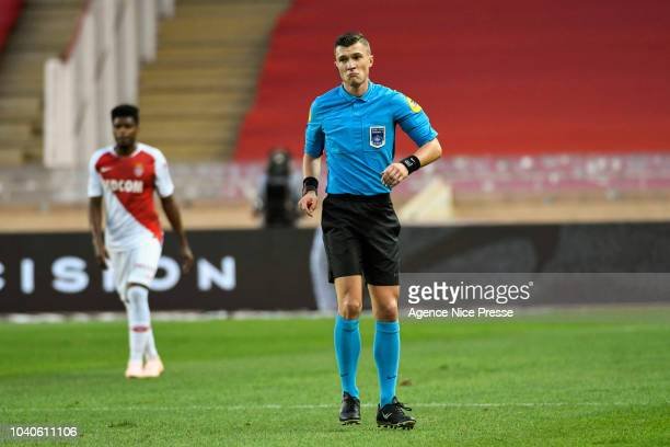 referee Willy Delajod during the Ligue 1 match between Monaco and Angers at Stade Louis II on September 25 2018 in Monaco Monaco