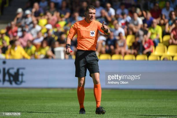 Referee Willy DELAJOD during the Ligue 1 match between Nantes and Reims at Stade de la Beaujoire on September 15 2019 in Nantes France