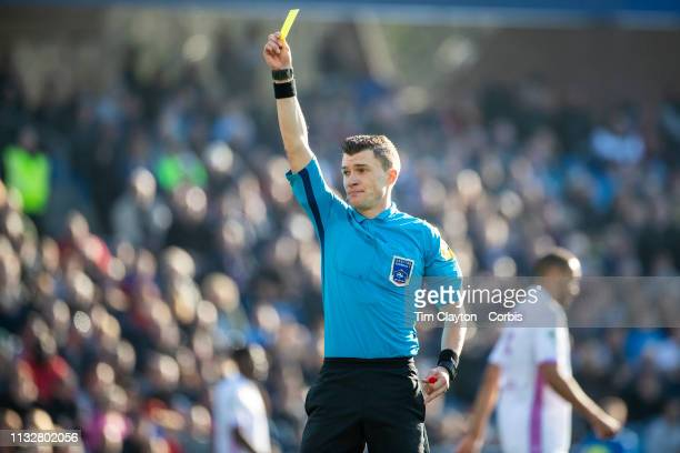 Referee Willy Delajod in action during the Montpellier Vs Stade de Reims French Ligue 1 regular season match at Stade de la Mosson on February 24th...