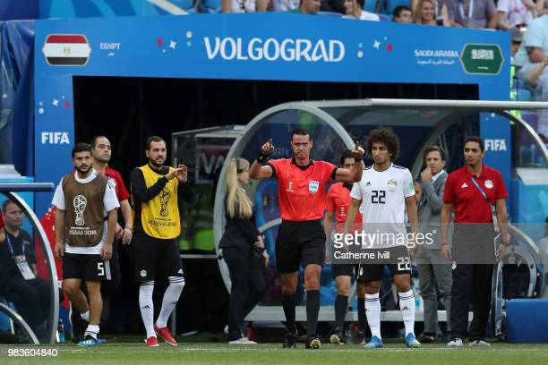 Referee Wilmar Roldan awards Saudi Arabia a penalty after consulting VAR during the 2018 FIFA World Cup Russia group A match between Saudia Arabia...