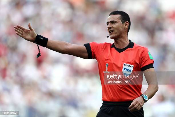 Referee Wilmar Roldan during the 2018 FIFA World Cup Russia group A match between Saudia Arabia and Egypt at Volgograd Arena on June 25 2018 in...