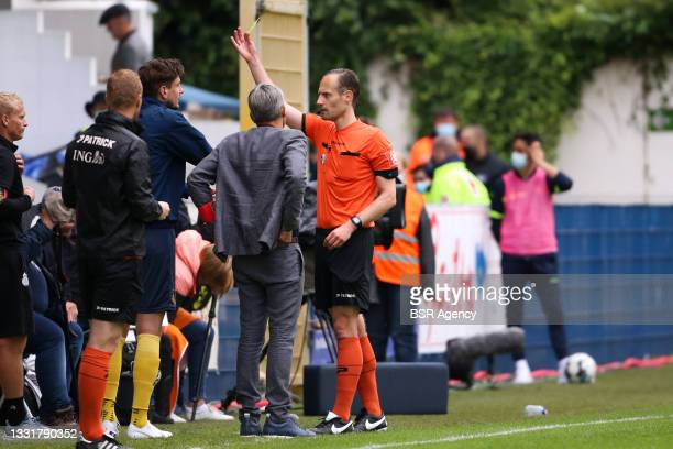 Referee Wim Smet during the Jupiler Pro League match between Union Saint Gilloise and Club Brugge at Joseph Marien Stadion on August 1, 2021 in...