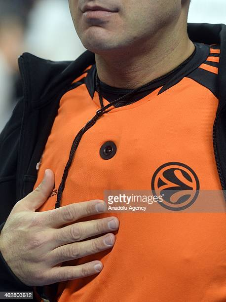 A referee with micro camera takes part at the Turkish Airlines Euroleague basketball Top 16 round 6 match between Real Madrid vs FC Barcelona at the...
