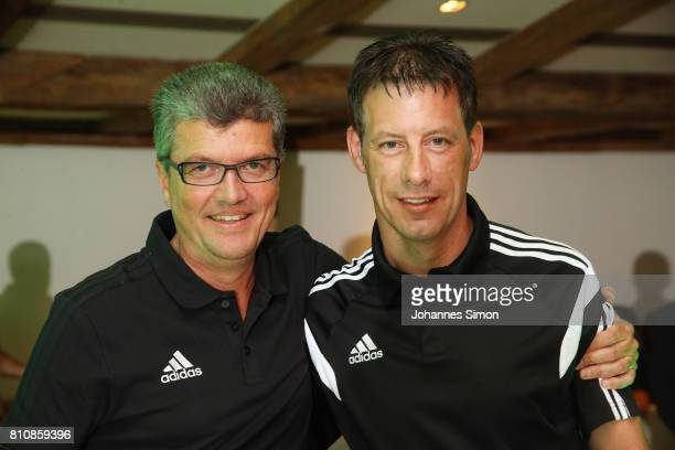 Referee Wolfgang Stark awarded as referee of the year 2017 is hugged by Herbert Fandel during the awarding ceremony on July 8 2017 in Grassau Germany