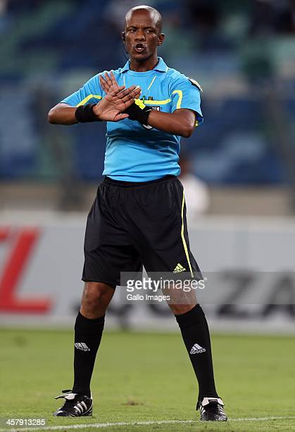 Referee Zolile Mthetho during the Absa Premiership match between Golden Arrows and Kaizer Chiefs at Moses Mabhida Stadium on December 19, 2013 in...