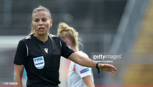 Referee Zulema Gonzalez Gonzalez reatcs during the Women's EM Qualification match between Germany and Montenegro at Auestadion on August 31 2019 in...