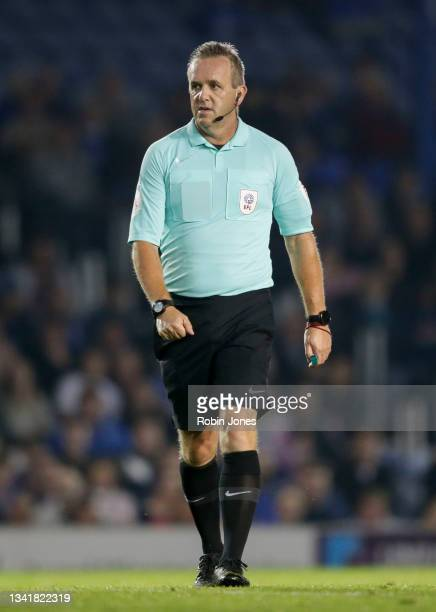 RefereeCarl Brook during the Sky Bet League One match between Portsmouth and Plymouth Argyle at Fratton Park on September 21, 2021 in Portsmouth,...