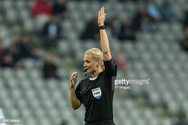 refereein Bibiana Steinhaus gestures during the Second Bandesliga match between TSV 1860 Muenchen and 1 FC Kaiserslautern at Allianz Arena on...