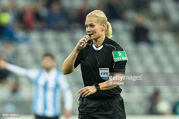 refereein Bibiana Steinhaus in action during the Second Bandesliga match between TSV 1860 Muenchen and 1 FC Kaiserslautern at Allianz Arena on...