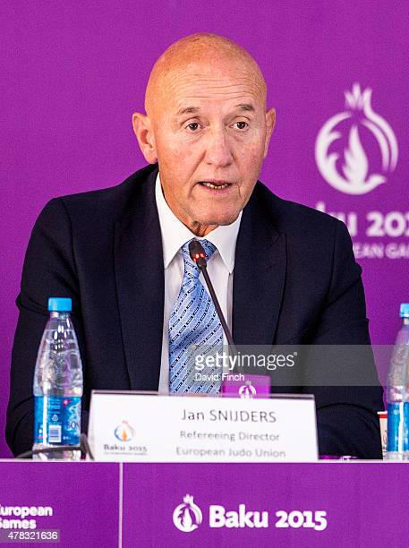 Refereeing Director and 1962 European champion Jan Snijders of Holland addresses the audience at the Competition Draw during the 2015 Baku European...