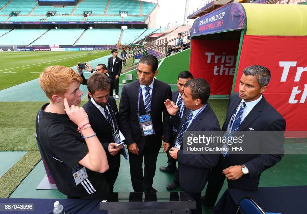 Referees and officials check the VAR set up prior to the FIFA U20 World Cup Korea Republic 2017 group A match between England and Guinea at Jeonju...