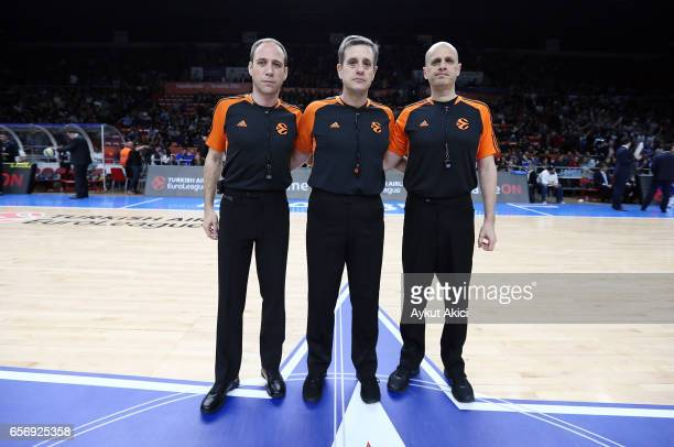 Referees are pictured prior to the 2016/2017 Turkish Airlines EuroLeague Regular Season Round 28 game between Anadolu Efes Istanbul v Fenerbahce...