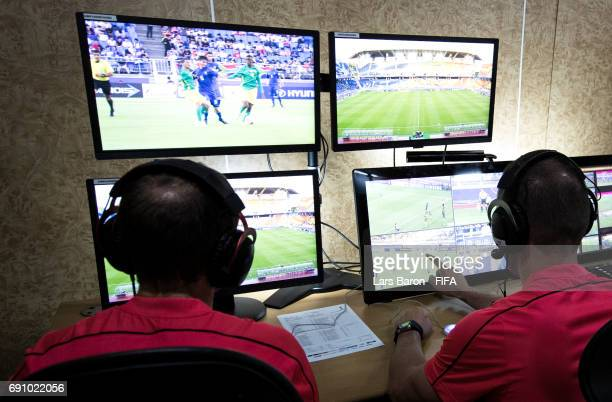 Referees are seen in the Video Assistant Referee Box during the FIFA U20 World Cup Korea Republic 2017 group D match between South Africa and Italy...