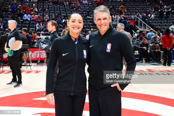Referees Ashley MoyerGleich and Scott Foster pose for a photo prior to the game between the San Antonio Spurs and Atlanta Hawkson March 6 2019 at...