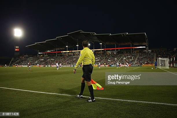 Referee's assistant Kermit Quisenberry oversees the action between the Toronto FC and the Colorado Rapids at Dick's Sporting Goods Park on April 2...