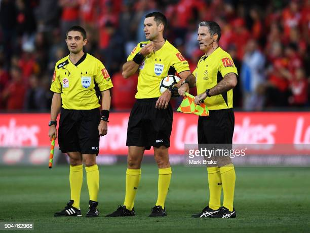 Referees at end of game during the round 16 ALeague match between Adelaide United and Sydney FC at Coopers Stadium on January 14 2018 in Adelaide...