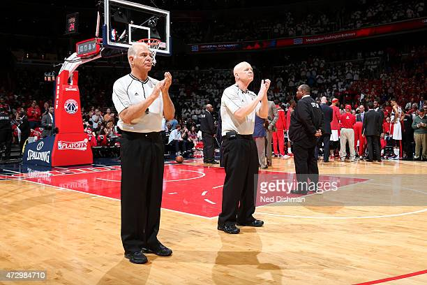 NBA referees Bennett Salvatore and Joe Crawford before the game between the Atlanta Hawks and Washington Wizards in Game Three of the Eastern...