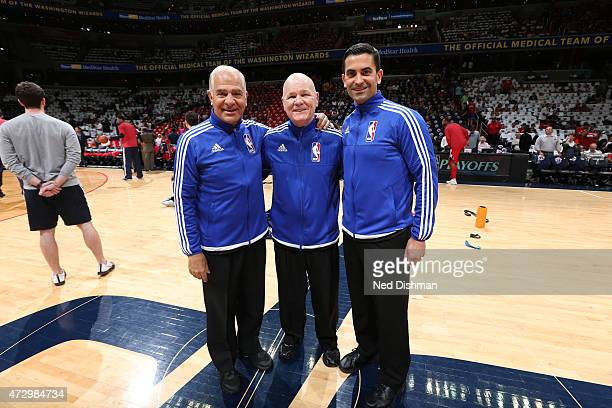 NBA referees Bennett Salvatore Joe Crawford and Zach Zarba before the game between the Atlanta Hawks and Washington Wizards in Game Three of the...