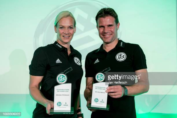 Referees Bibiana Steinhaus and Felix Brychpose with their award trophies after being awarded as referee of the year 2018 on July 21 2018 in Grassau...