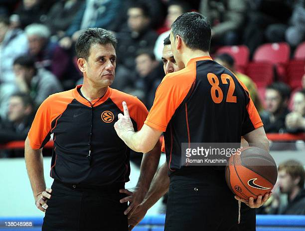 Referees during 20112012 Turkish Airlines Euroleague TOP 16 Game Day 3 between Unics Kazan and EA7 Emporio Armani Milan at Baskethall Kazan on...